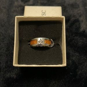 Men's ring - wood inlay - Free Mason logo - SZ8